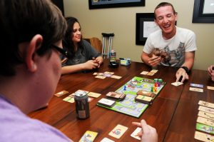Some friends playing a board game