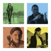 set of 4 blurred images showing people with different disabilities (physical, Deaf, hearing loss, anxiety)