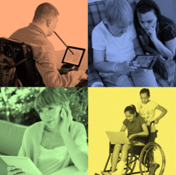 Collage of disabled people using smartphones and tablets.