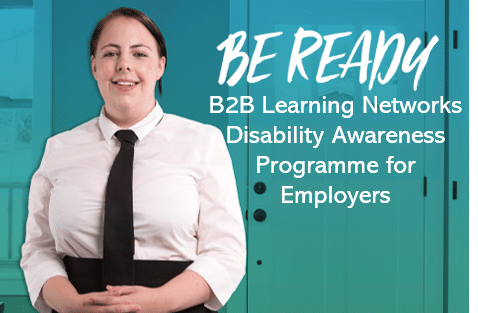 Person standing beside Be Ready wording for B2B Learning Networks