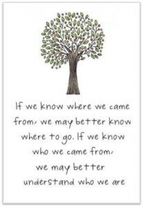 Tree image with text - If we know where we came from, we may better know where to go. If we know who we came from, we may better understadn who we are.