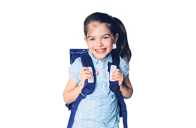 mobile image of a girl with backpack