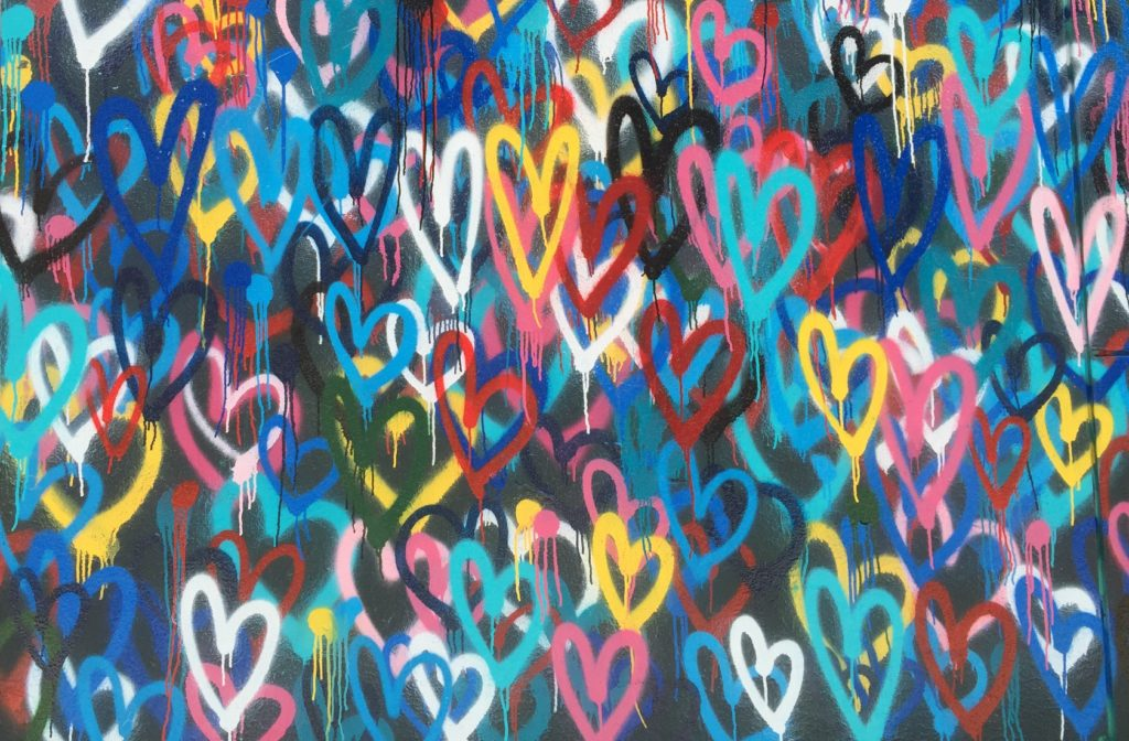 hearts on a wall in spray paint