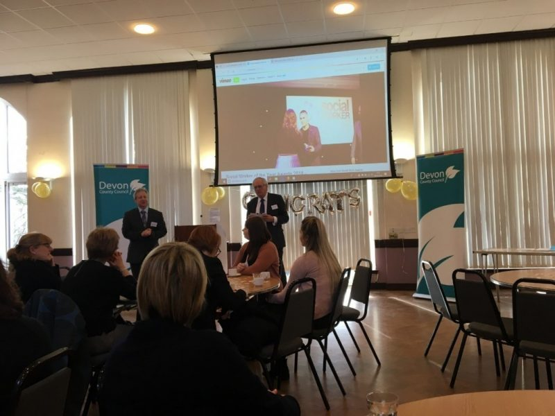 Devon County Council's Chief Executive, Phil Norrey and Leader, Cllr John Hart welcome social work staff to the celebration event.