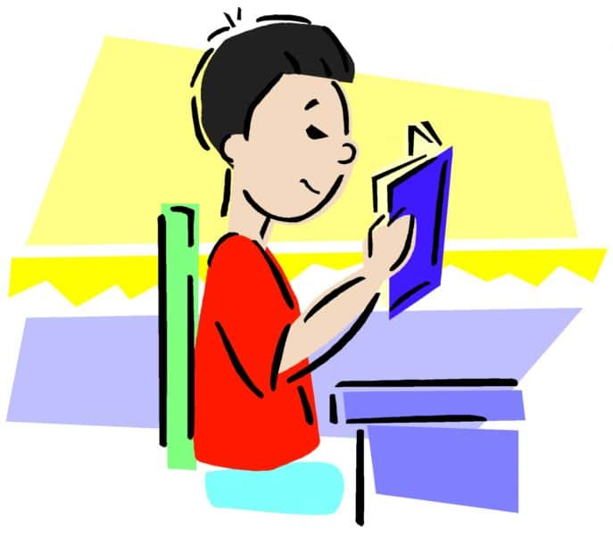 Illustration of a pupil reading a book sat at a desk