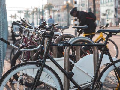 a bike rack full of bikes