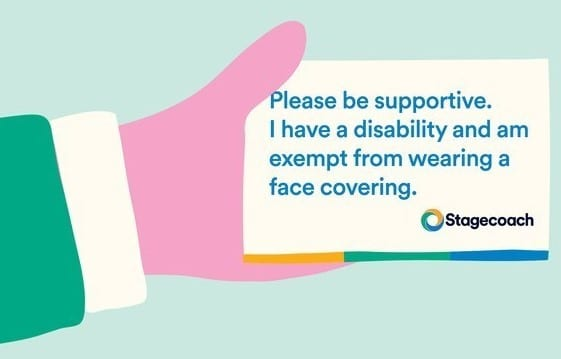 "an illustration of a hard holding a card. The card says ""please be supportive. I have a disability and am exempt from wearing a face covering"""