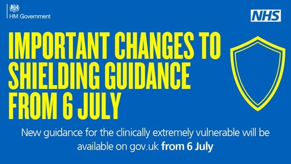 """a poster saying """"important changes to shielding guidance from 6 July"""""""