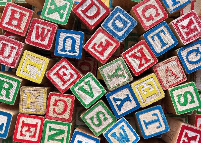 wooden blocks with letters on