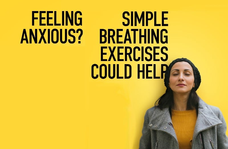 A poster promoting breathing exercises to tackle anxiety