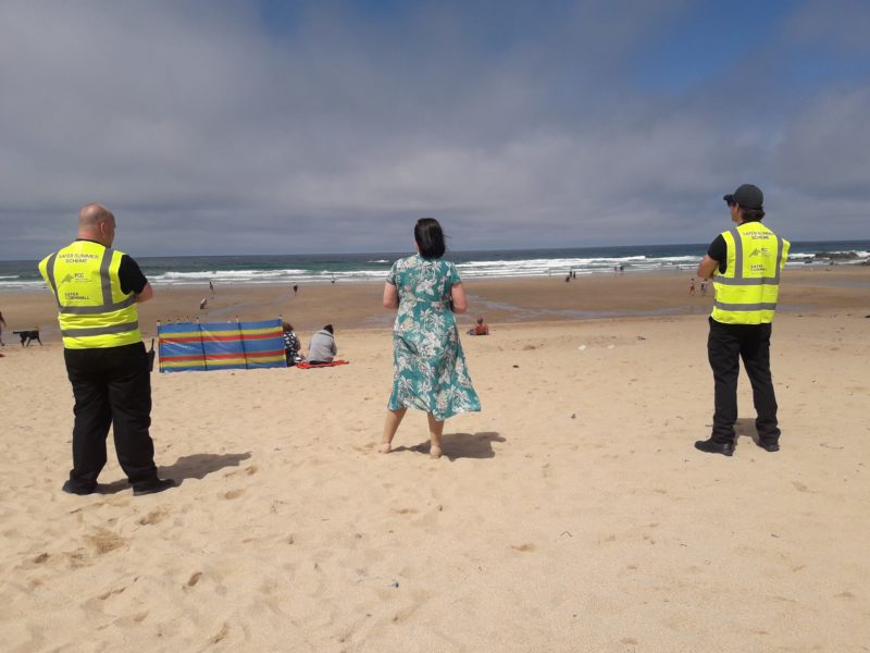 Safer Summer street marshals on watch at a beach