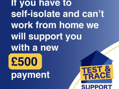 a poster explaining how you might be able to claim £500 if you need to self-isolate