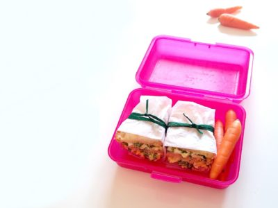 sandwiches and carrots in a lunchbox