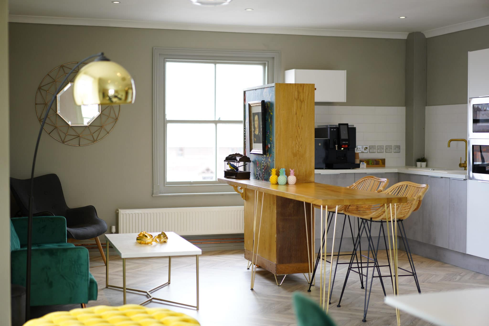 Breakout social area at The Nook, Honiton with chairs and a kitchenette