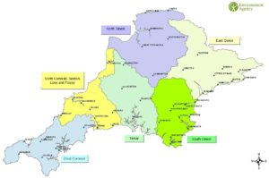 A map of the catchment partnerships in Devon and East Cornwall. In Devon these include North Devon, East Devon, South Devon and the Tamar which is also partially in Cornwall