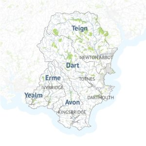 A map of the South Devon Catchment showing the key parishes within the area