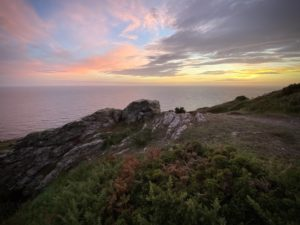 Sunset over the coast path in the South Devon AONB