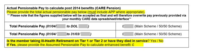 actual pensionable pay chart