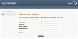 activate your account screen