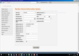 member general information update screen