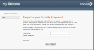 reset your security question screen