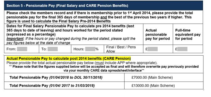 section 5 actual pensionable pay to calculate post 2014 benefits