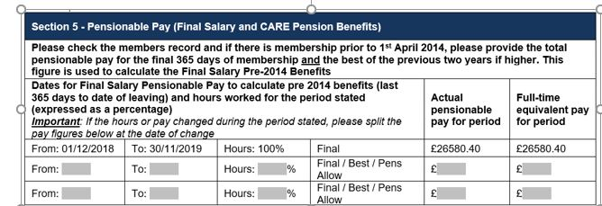 section 5 pensionable pay of the pensions leaver form