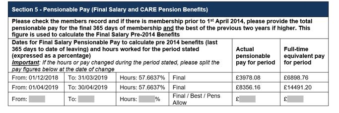 section 5 pensionable pay chart (final salary and CARE pension benefits) - term time
