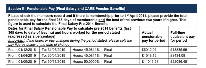 section 5 - pensionable pay (final salary and CARE pension benefits)